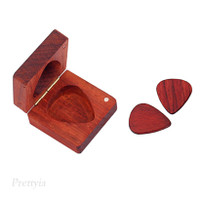 Rosewood Engraved Guitar Pick Box Plectrum Holder Wooden Square