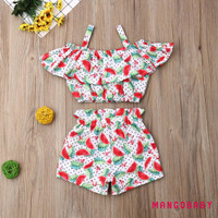 ♬MG♪-Toddler Baby Kids Girl Clothes Ruffle Floral Crop Tops