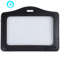 Faux Leather Horizontal Name Tag ID Work Badge Card Holder 10pcs