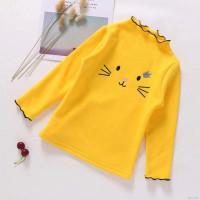 Kaos T-shirt Anak Perempuan Lengan Panjang Motif Bordir Kucing Untuk