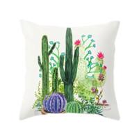 Sarung Bantal Sofa Bahan Polyester Motif Kaktus