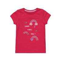 Mothercare Girls Good Vibes T-Shirt - Kaos Anak Perempuan (Merah)