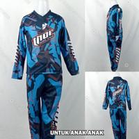 Baju/Kaos/Jersey DryFit Print Balap Motor/Moto X/Moto Cross Anak Biru