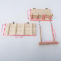 Mainan Ayunan Dengan Tangga Panjat Bahan Kayu Untuk Kandang Burung