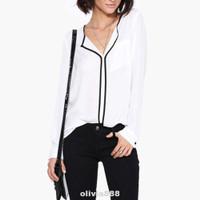 Black Line Office Home Causal V Neck Long Sleeve Women Shirt