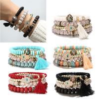 INFSet Of 4 Evil Eye Fatima Hamsa Hand Wood Beads Bangle Bracelets 9k