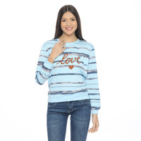 Ramayana - Pink By JJ - Sweat Shirt L/S Sablon Salur LOVE - Biru