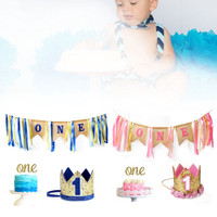 Baby DIY Cake Smash 1st Birthday Decoration Party Supplies With Hat