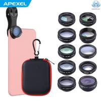 Apexel 10 In 1 Set Lensa Kamera Handphone Dengan 0.63x Wide Angle15x