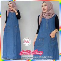Cantik Outer Baju Kodok Panjang Bahan Jeans Fashion Wanita Muslim T