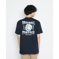 Kaos Pria Erigo T-Shirt Baseball Forever Cotton Combed Navy