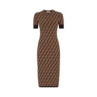 Fendi FF Motif Fabric Dress Brown Black