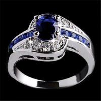 Ready Stock Cincin Batu Safir Biru Hiasan Kristal Emas Putih