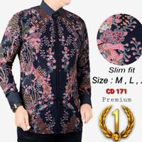 Baju Batik Pria Kemeja Batik Slimfit Lengan Panjang PINK BUNGA CD171