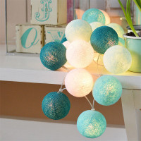 20 LEDs/ String Festive Colorful Cotton Ball Fairy Lights Home