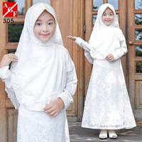 AGNES Gamis Putih Anak Perempuan Baju Muslim Lebaran Anak Wanita 305