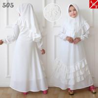 AGNES Gamis Putih Anak Perempuan Baju Muslim Syari Anak Lebaran 505 -