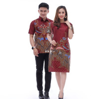 Baju Batik Couple Sarimbit Dress Kemeja Best Seller 05 - Merah