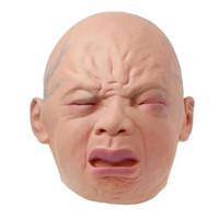 TOL-17 topeng latex karet full head kepala crying baby bayi halloween