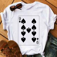 Kaos T-Shirt Wanita Musim Panas Motif Kartu Poker 9 Gaya 80an