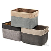 wanlujian Color Block Foldable Clothes Toy Storage Box Basket Contain