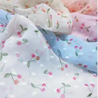 Kain Sifon Motif Print Bunga Sakura Lebar 1.5m Panjang 1m