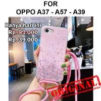 Case Oppo A37 A37f - A39 A57 casing cover tpu tali GLITTER LANYARD - A37 / A37f, Black