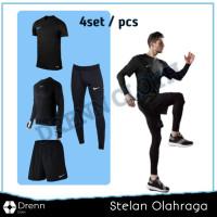 EQQ - 4 in 1 Full Set Stelan Olahraga Pria Premium Manset Baju Futsal
