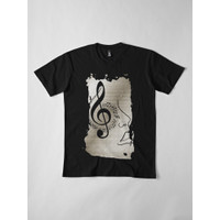 Kaos Abstract G Clef And Face Treble Clef Musical 5981 T-Shirt