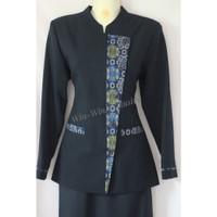 Wanita Blazer Kerja Warna Setelan Batik Dongker Biru Kantor Kombinasi