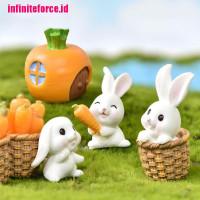 IN Mini Rabbit Easter Decor Hare Animal Figurine Resin Craft Bun NA10