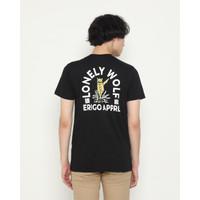 Kaos Pria Erigo T-Shirt Lonely Wolf Cotton Combed Black