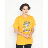 Kaos Pria Erigo T-Shirt Mets America Cotton Combed Mustard