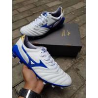 Sepatu Bola Mizuno Morelia Neo White Blue MD
