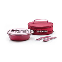 Tupperware Crystalwave Lunch Set Merah Free tas microwaveable