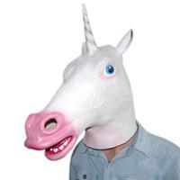 Topeng Bentuk Kepala Kuda Unicorn untuk Pesta Halloween