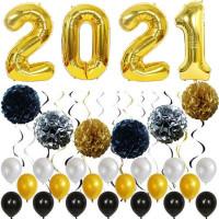Va Set Balon Emas / Putih / Hitam Untuk Dekorasi Tahun Baru Imlek