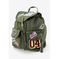 Justice Girls Olive Patch Rucksack Backpack - Tas Ransel Anak