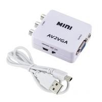 con Mini HD AV2VGA Video Converter Convertor Box AV RCA CVBS to VGA