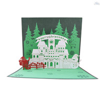 3D Pop Up Christmas Cards Greeting Holiday Cards with Envelope Xmas