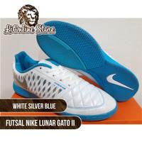 Sepatu Futsal - Nike Lunar Gato II White Silver Blue Sepatu Olahraga