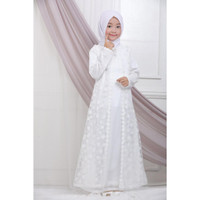 Lebaran Gamis Wanita Gamis Muslim 80820 Putih Baju Umroh Busana Haji A