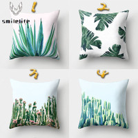 1pc Sarung Bantal Motif Print Daun Kaktus Ukuran 45x45cm Untuk