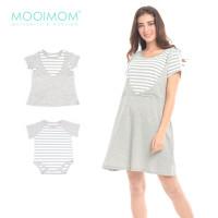 Anak Dress Ibu Nursing MOOIMOM Baju Set Couple In Short Hamil Sleeves