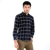 25646-11233 Hitam Flannel Putih Benhill Kemeja Kotak Panjang Pria