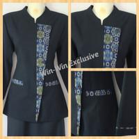 Kantor Wanita Biru Blazer Batik Kombinasi Kerja Dongker Setelan Warna