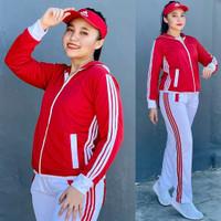 Putih Merah Fitness Senam Olahraga Baju Training Lapangan Setelan Aero