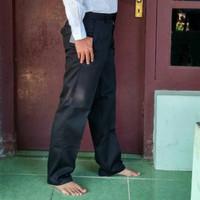 pria BAHAN hitam formal DASAR panjang katun Drill Celana kantor kain