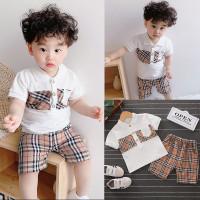 SB20 6bln Setelan 3thn Setelan Anak Garis Baju Coklat COD Pakaian - An