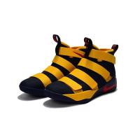 Sepatu Basket Desain Nike Lebron Soldier 11 Warna Biru Tua / Kuning
